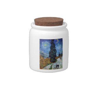 Van Gogh - Country road in Provence by night Candy Dish