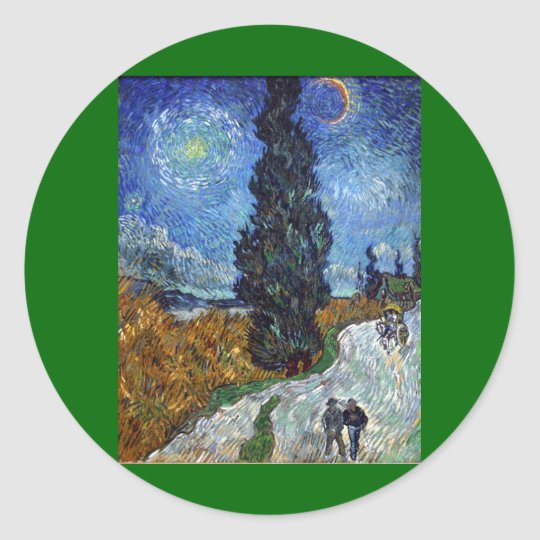 Van Gogh Country road in Provence by night Classic Round Sticker