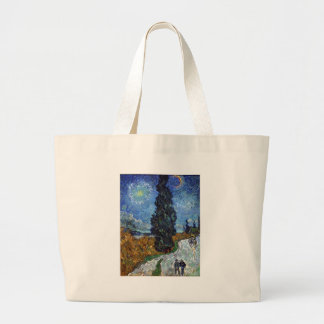 Van Gogh- Country Road in Provence by Night Large Tote Bag