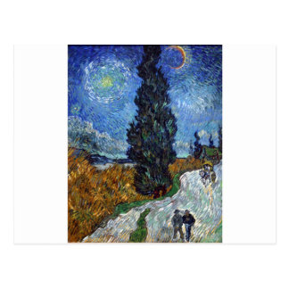 Van Gogh Country road in Provence by night Postcard
