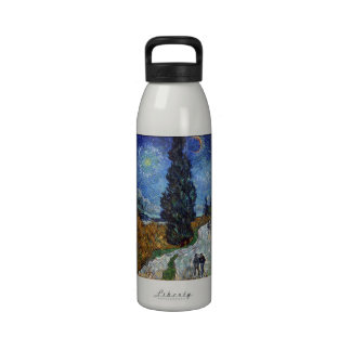 Van Gogh - Country road in Provence by night Drinking Bottle