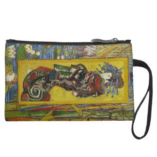 Van Gogh Courtesan after Eisen Suede Wristlet Wallet