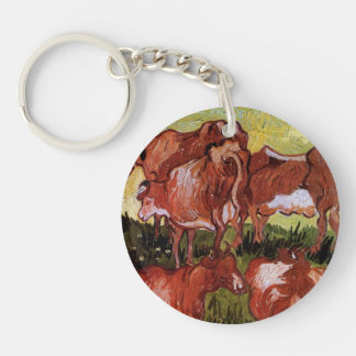 Van Gogh Cows Vintage Still Life Impressionism Art Double-Sided Round Acrylic Keychain