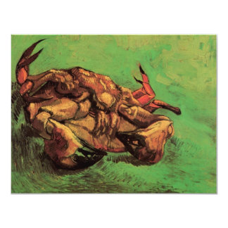 Van Gogh Crab on Its Back, Vintage Still Life Art 4.25x5.5 Paper Invitation Card