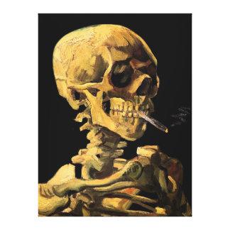 Van Gogh - cráneo con el cigarrillo ardiente Lona Envuelta Para Galerías