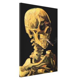 Van Gogh - cráneo con el cigarrillo ardiente Lona Estirada Galerias