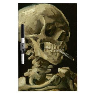 Van Gogh - cráneo con el cigarrillo ardiente Pizarra Blanca
