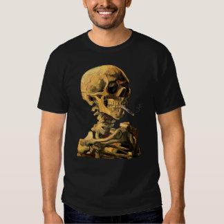 Van Gogh - cráneo con el cigarrillo ardiente Polera