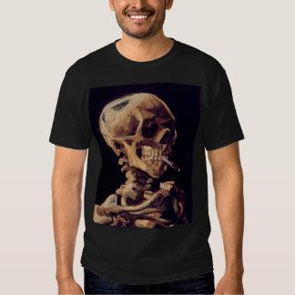Van Gogh - cráneo con un cigarrillo ardiente Remeras