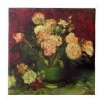 Van Gogh; Cuenco con los Peonies y los rosas Azulejo
