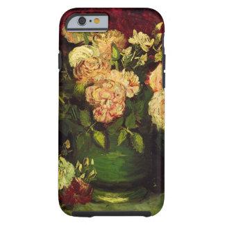 Van Gogh; Cuenco con los Peonies y los rosas Funda De iPhone 6 Tough