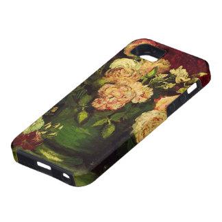 Van Gogh; Cuenco con los Peonies y los rosas iPhone 5 Case-Mate Cárcasas