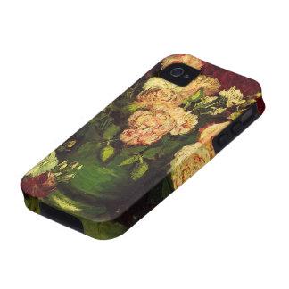 Van Gogh; Cuenco con los Peonies y los rosas iPhone 4 Funda