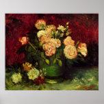 Van Gogh; Cuenco con los Peonies y los rosas Poster