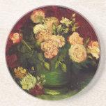 Van Gogh; Cuenco con los Peonies y los rosas Posavasos Manualidades