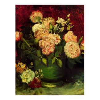 Van Gogh; Cuenco con los Peonies y los rosas Postal