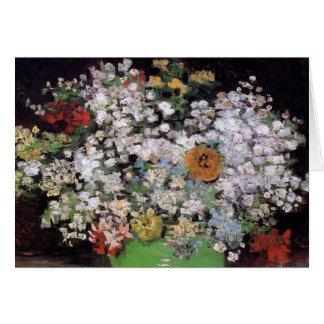 Van Gogh - cuenco con Zinnias y otras flores Tarjeton