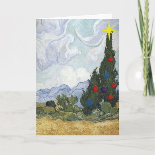Christmas Card Artist.Van Gogh Cypress Artist Christmas Card