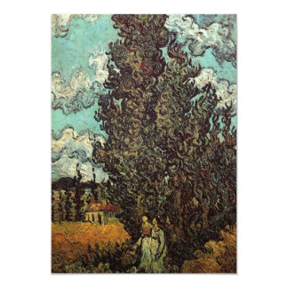"Van Gogh Cypresses and Two Women, Vintage Art 5"" X 7"" Invitation Card"