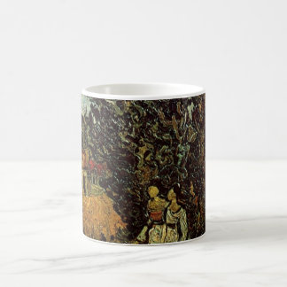 Van Gogh Cypresses and Two Women, Vintage Fine Art Coffee Mug