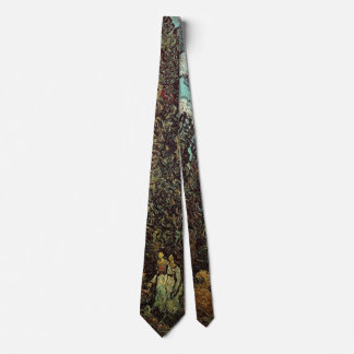 Van Gogh Cypresses and Two Women, Vintage Fine Art Tie