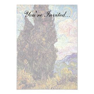 Van Gogh - Cypresses 5x7 Paper Invitation Card