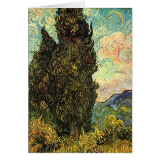 Van Gogh Cypresses, Vintage Landscape Fine Art Card