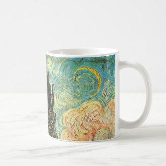 Van Gogh Cypresses, Vintage Landscape Fine Art Coffee Mug