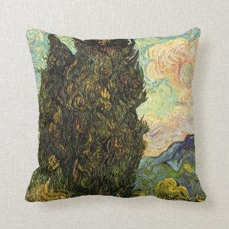 Van Gogh Cypresses, Vintage Landscape Fine Art Throw Pillow