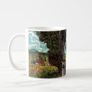 Van Gogh Cypresses with Two Female Figures Coffee Mug