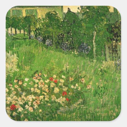 Van Gogh Daubigny's Garden, Vintage Flowers Art Square Sticker