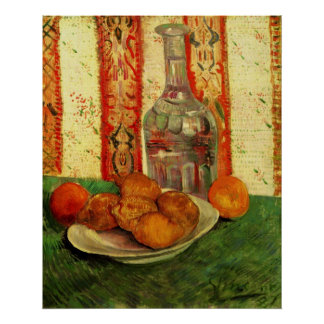 Van Gogh Decanter Lemons Plate, Vintage Still Life Poster