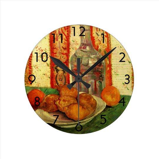 Van Gogh Decanter Lemons Plate, Vintage Still Life Round Clock