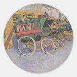 Van Gogh - diligencia de Tarascon (1888) Pegatina Redonda