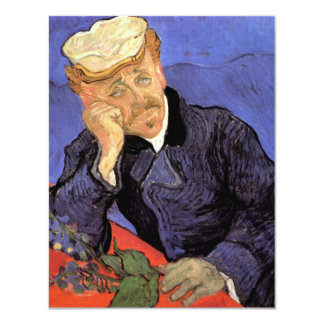 "Van Gogh, Doctor Gachet, Vintage Impressionism Art 4.25"" X 5.5"" Invitation Card"
