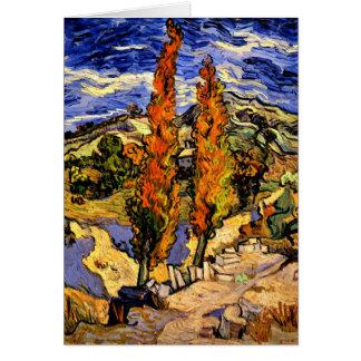 Van Gogh - dos álamos en una colina Tarjeta Pequeña