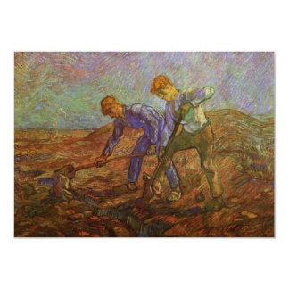 """Van Gogh, dos campesinos que cavan, granjeros del Invitación 5"""" X 7"""""""