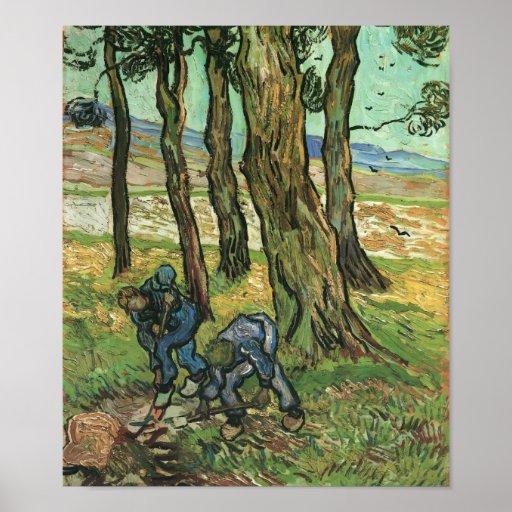 Van Gogh - dos cavadores entre árboles Posters