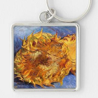 Van Gogh: Dos girasoles cortados Llavero Cuadrado Plateado