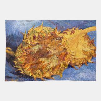 Van Gogh: Dos girasoles cortados Toallas De Cocina