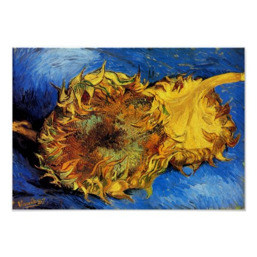 Van Gogh - dos girasoles cortados Póster