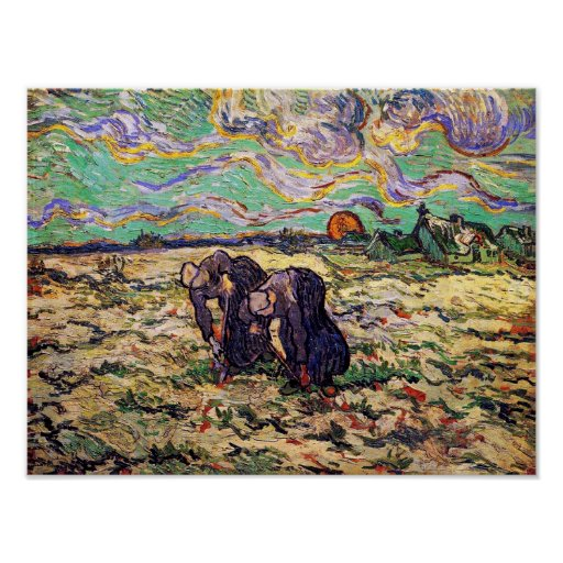 Van Gogh - dos mujeres campesinas que cavan en Posters