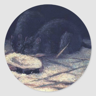 Van Gogh - dos ratas Pegatina Redonda