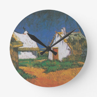 Van_Gogh_-_Drei_weiße_Hütten_in_Saintes-Maries Round Clock