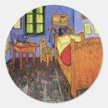 Van Gogh; El dormitorio de Vincent en Arles, arte Pegatina Redonda
