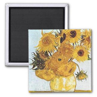 Van Gogh el florero con 12 girasoles Imán Cuadrado
