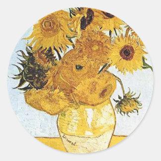 Van Gogh el florero con el pegatina de 12