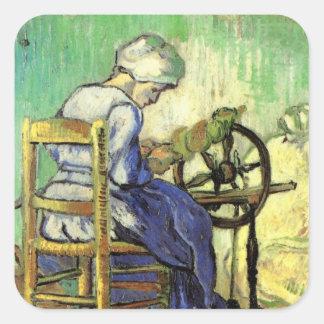 Van Gogh, el hilandero, arte del impresionismo del Pegatina Cuadrada
