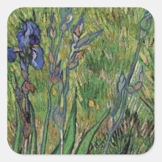 Van Gogh el impresionista del poste del vintage de Pegatina Cuadradas Personalizadas