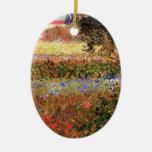 Van Gogh; El jardín floreciente, vintage florece f Ornamentos Para Reyes Magos